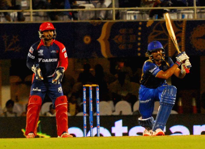 Rajasthan Royals batsman Karun Nair in action during an IPL-2015 match between Rajasthan Royals  and Delhi Daredevils at the Brabourne Stadium in Mumbai, on May 3, 2015. - Karun Nair