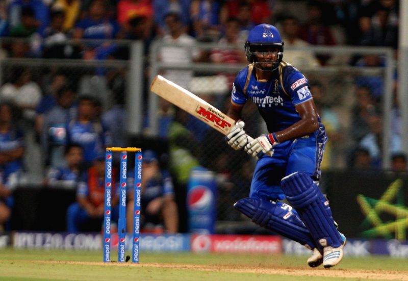 Rajasthan Royals batsman Sanju Samson in action during an IPL 2015 match between Rajasthan Royals and Mumbai Indians at the Wankhede Stadium in Mumbai, on May 1, 2015. - Sanju Samson