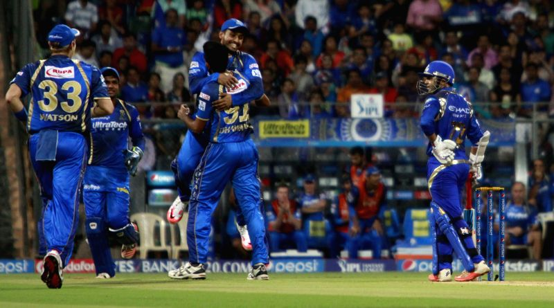 Rajasthan Royals celebrate fall of a wicket  during an IPL 2015 match between Rajasthan Royals and Mumbai Indians at the Wankhede Stadium in Mumbai, on May 1, 2015.