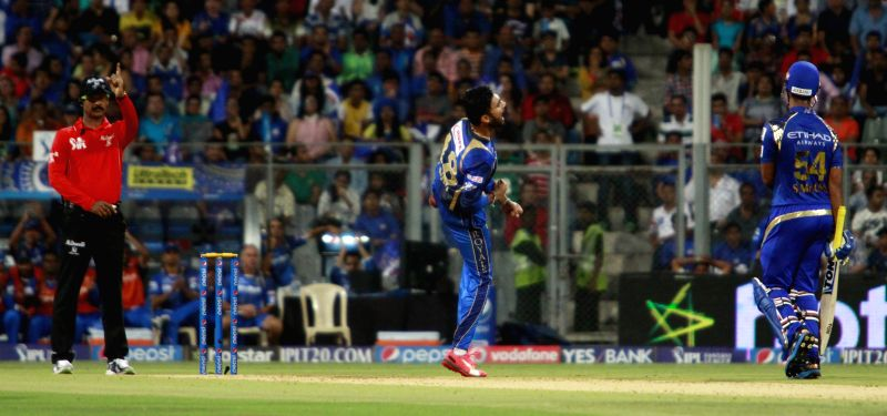 Rajasthan Royals player Ankit Sharma celebrates fall of a wicket  during an IPL 2015 match between Rajasthan Royals and Mumbai Indians at the Wankhede Stadium in Mumbai, on May 1, 2015. - Ankit Sharma