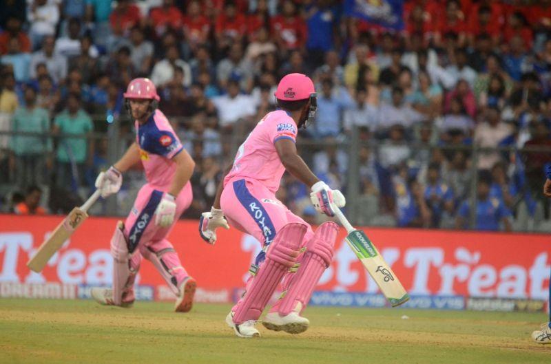 Mumbai: Rajasthan Royals' players run between the wickets during the 27th match of IPL 2019 between Mumbai Indians and Rajasthan Royals at Wankhede Stadium in Mumbai, on April 13, 2019. (Photo: Sandeep Mahankal/IANS)