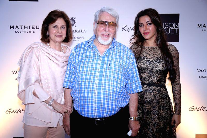 Rashna and Noshir Talati with Kaykasshan Patel during the launch of Gauri`s private workspace `Gauri Khan` at Bandra in Mumbai on, April 29, 2015. - Kaykasshan Patel