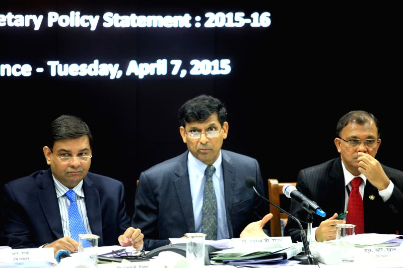 RBI Governor Raghuram Rajan during a press conference regarding the `First Bi-monthly Monetary Policy Statement, 2015-16` at RBI headquarters in Mumbai, on April 7, 2015.