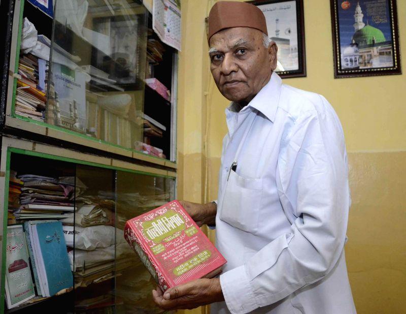 Renowned Sanskrit scholar Pandit Gulam Dastagir at his home in Worli, Mumbai on Dec. 27, 2014.