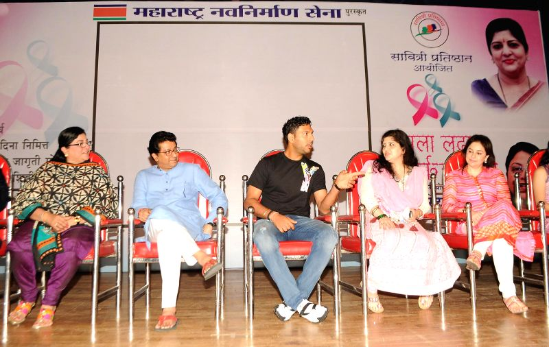 Rita Gupta (Vice President of Maharashtra Nav Nirman Sena - MNS), Raj Thackrey, Yuvraj Singh, Sharmila Thackrey and Dr. Anjali Tendulkar during the Cancer awareness event on the occasion of ... - Rita Gupta and Yuvraj Singh