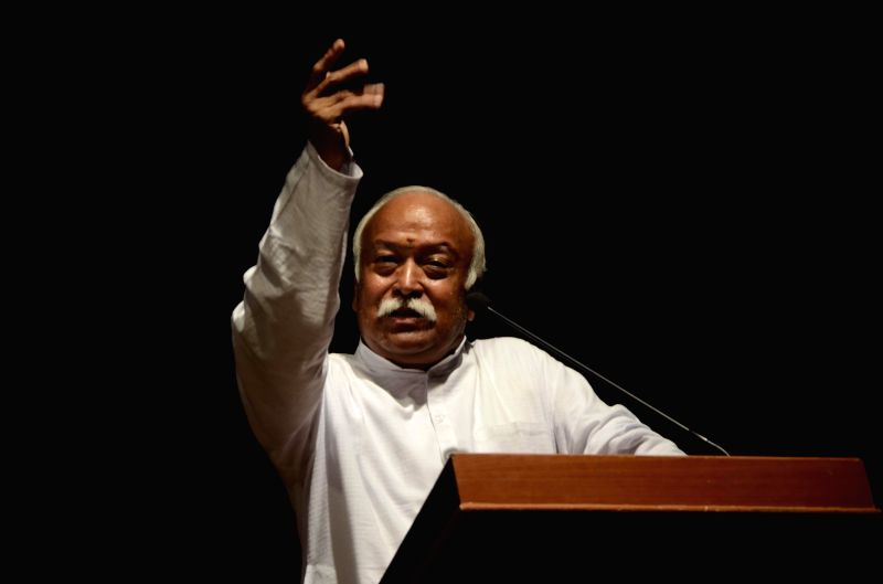 RSS Chief Mohan Bhagwat addresses during a programme organised on the occasion of 50th death anniversary of Swatantryaveer Savarkar in Mumbai on Feb 26, 2015.
