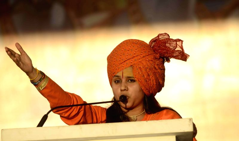 Sadhvi Hritambara addresses during Virat Hindu Sammelan of Vishwa Hindu Parishad (VHP) in Mumbai, on Dec 14, 2014.