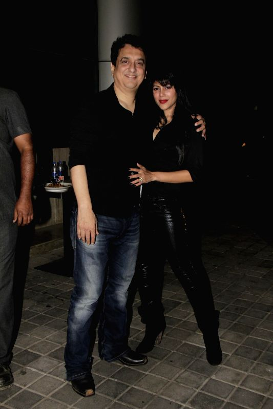 Sajid Nadiadwala and his wife Wardha Khan during Ahmed Khan and Shahira Khan's wedding anniversary party in Mumbai on 7th, Feb. 2015. - Wardha Khan