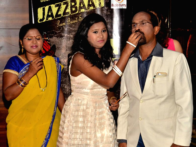 Sanchiti Sakat family during the launch of Jazzbaat, a music album in Mumbai, on April 22, 2015.