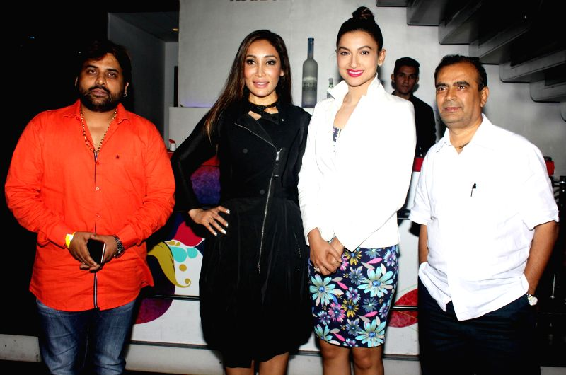 Sandeep Shukla, Sofia Hayat, Gauhar Khan and Yogesh Lakhani during the launch of debut album Main Ladki Hoon by Sofia Hayat in Mumbai on March 20, 2015. - Gauhar Khan