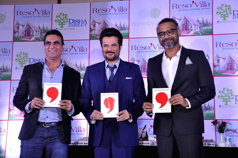 Santosh Naik, MD, CEO, Disha Direct, actor Anil Kapoor and Abhinay Deo, filmmaker and Founder and director of Abhinay Deo ventures during the launch of Resovilla, holiday home (phase 2) in ... - Anil Kapoor