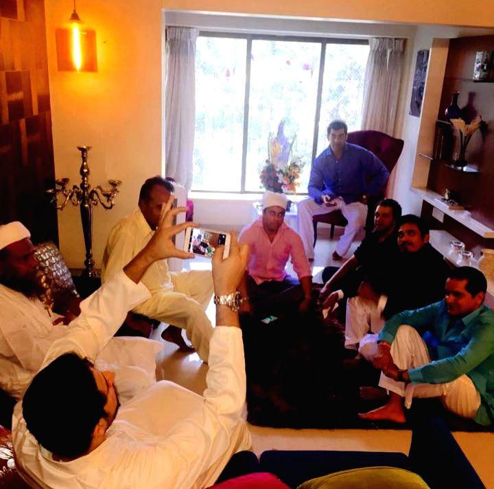 Shawar Ali, Mr. Waahiid Ali Khan (CMD, Sshaawn Group of Companies), Zulfi Syed at Shawar Ali's marriage ceremony in Mumbai. - Waahiid Ali Khan
