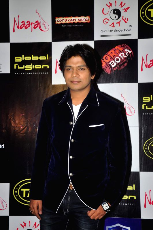 Singer Ankit Tiwary during the birthday party in Mumbai on March 5, 2015.