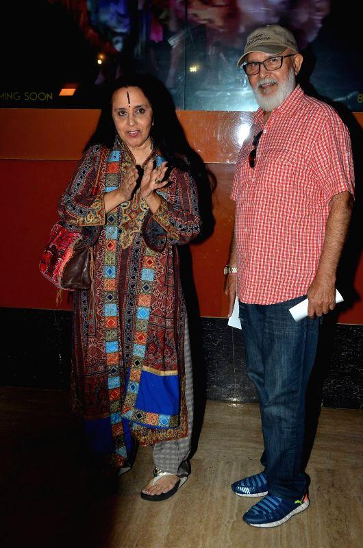 Singer Ila Arun along with her husband during the premiere of film Bhopal: A Prayer for Rain in Mumbai, on December 4, 2014.