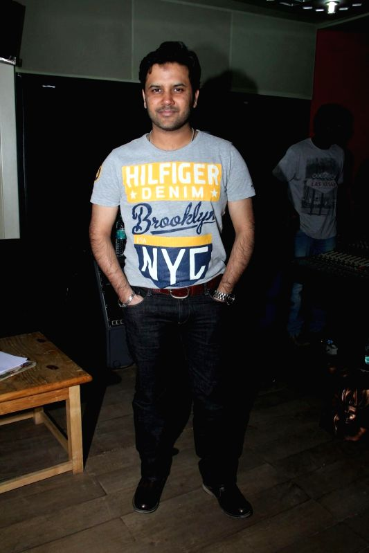 Singer Javed Ali during the song recoding of film Care of Love in Mumbai on Feb. 2, 2015.
