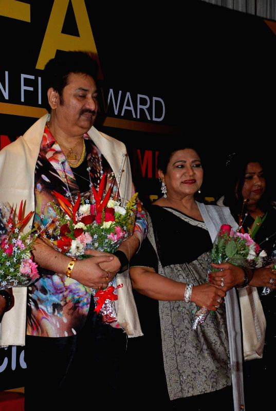 Singer Kumar Sanu and actress Shahnaz Rizwan during the Announcement of annual award show TIIFA in Mumbai on April 18, 2015. - Shahnaz Rizwan and Kumar Sanu