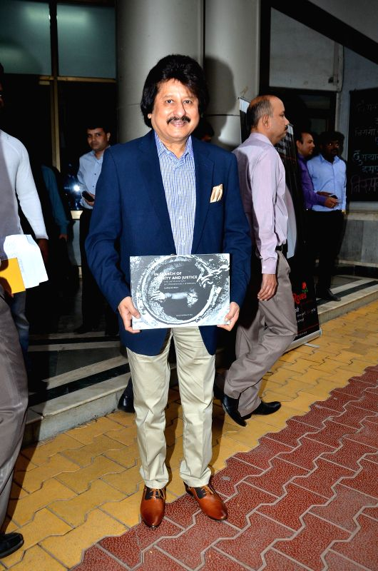 Singer Pankaj Udas during the release of Photojournalist Sudharak Olwe book In search of Dignity and Justice, in Mumbai, on Jan. 22, 2015.