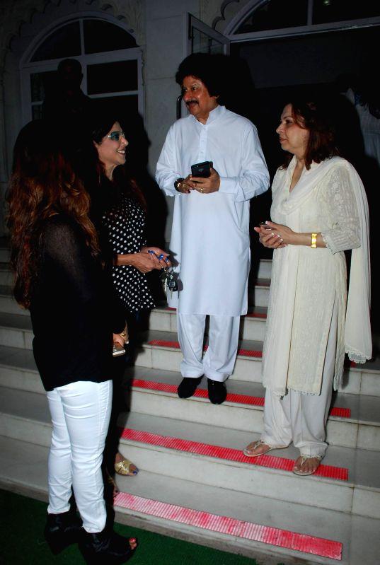 Singer Pankaj Udhas and his wife Farida Udha during the prayer meeting of Medha Jalota wife of Bhajan singer Anup Jalota in Mumbai on Thursday, Dec 11, 2014.