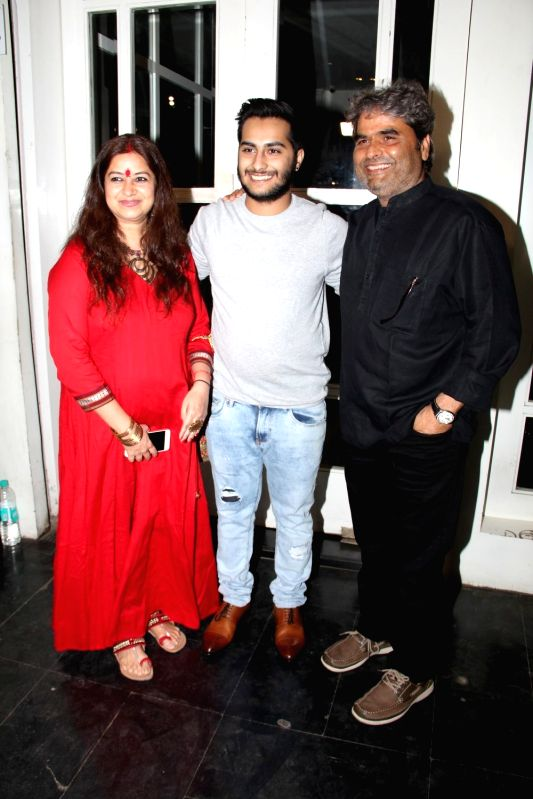 Singer Rekha Bhardwaj, actor Aasmaan Bhardwaj and filmmaker Vishal Bhardwaj during the success party to celebrate National Award for film Haider in Mumbai on March 24, 2015. - Aasmaan Bhardwaj, Rekha Bhardwaj and Vishal Bhardwaj