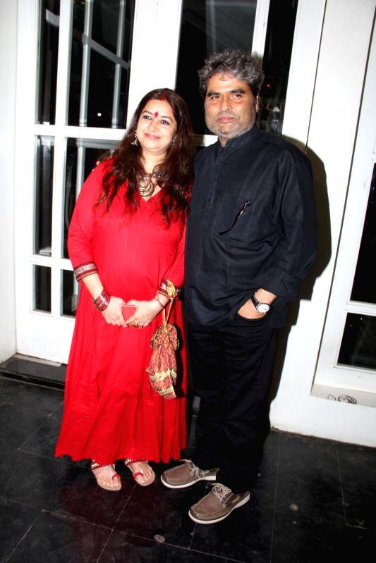 Singer Rekha Bhardwaj and filmmaker Vishal Bhardwaj during the success party to celebrate National Award for film Haider in Mumbai on March 24, 2015. - Rekha Bhardwaj and Vishal Bhardwaj