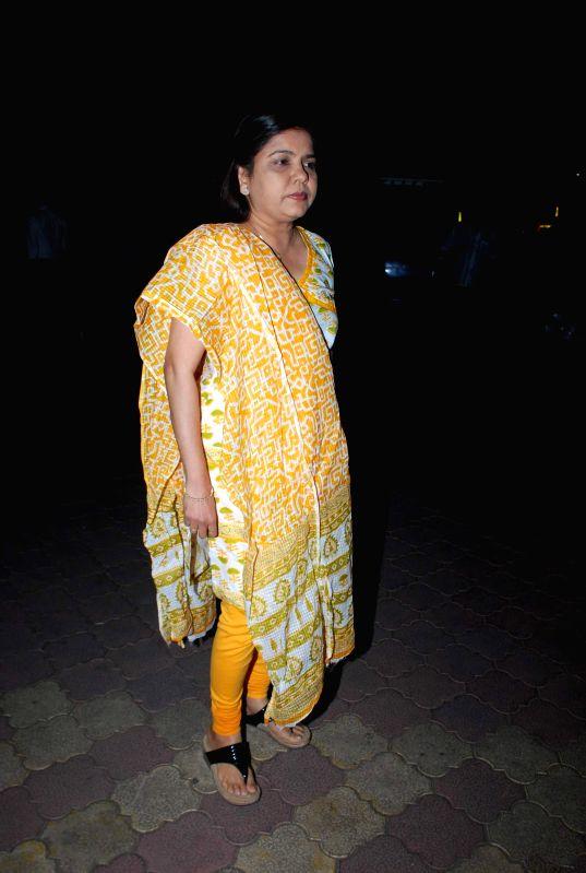 Singer Sadhana Sargam during the prayer meeting of Medha Jalota wife of Bhajan singer Anup Jalota in Mumbai on Thursday, Dec 11, 2014.