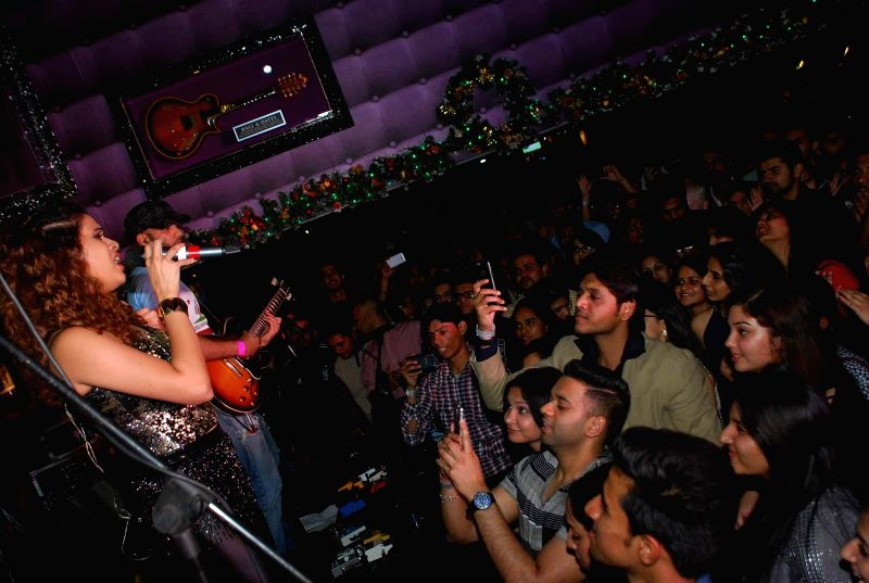 Singer Shalmali Kholgade performs live at Lucky's music club  in Mumbai on Dec 26, 2014.