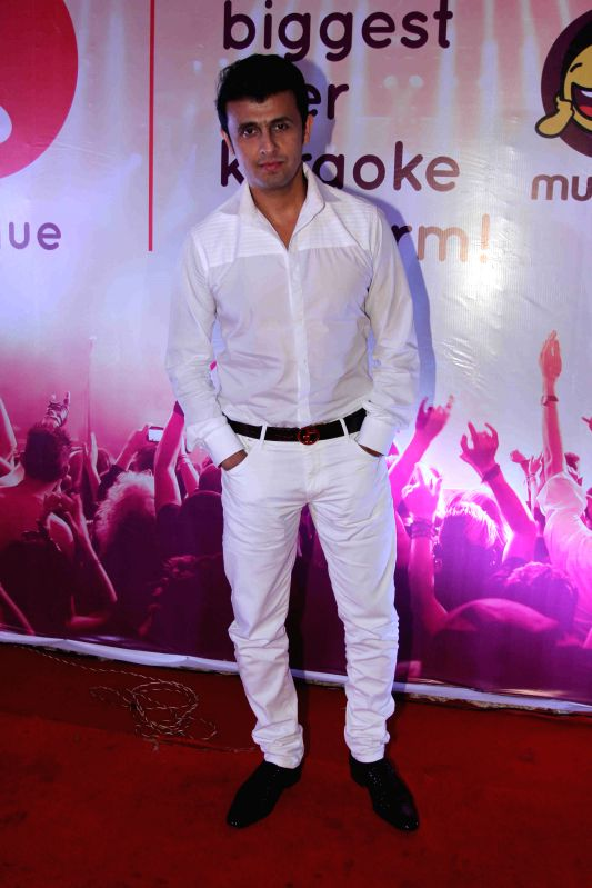 Singer Sonu Nigam during the launch of IKL - Indian Karaoke League in Mumbai on April 14, 2015. - Sonu Nigam