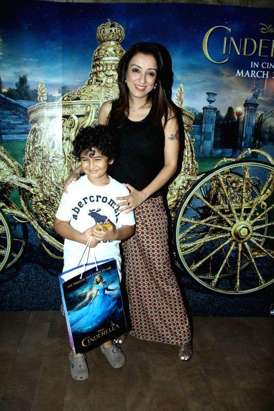 Singer Sonu Nigam`s wife Madhurima Nigam during the special screening of film Cinderella in Mumbai on March 13, 2015.