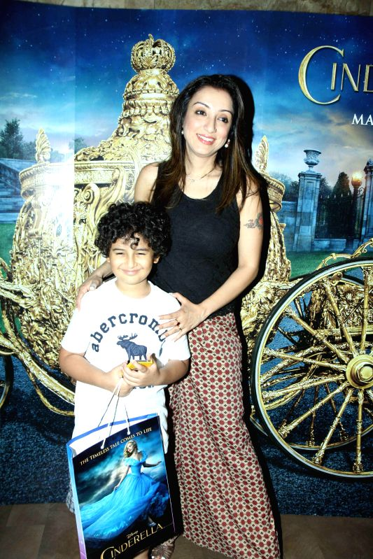 Singer Sonu Nigam`s wife Madhurima Nigam during the special screening of film Cinderella in Mumbai on March 13, 2015.