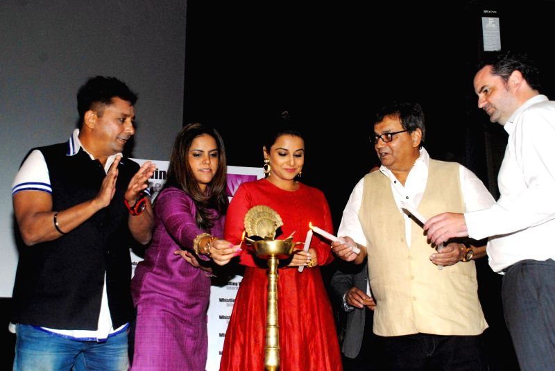 Singer Sukhwinder Singh, Meghna Ghai Puri, President, actor Vidya Balan and filmmaker Subhash Ghai during the launch of ``cultural hub-5th veda and the meditation room-I pray`` at Whistling .. - Vidya Balan and Sukhwinder Singh