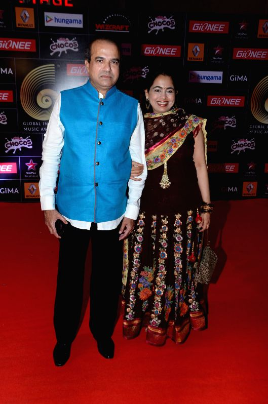 Singer Suresh Wadkar along with his wife Padma Wadkar during the 5th edition of the Global Indian Music Academy (GiMA) Awards ceremony in Mumbai on Feb 24, 2015.