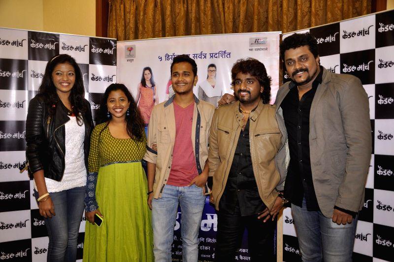 Singers Juilee Joglekar, Anandi Joshi, Rohit Raut, Adarsh Shinde, Music composer Amit Raj during the music launch of upcoming Marathi film Candle March in Mumbai, on Nov 17, 2014. - Anandi Joshi