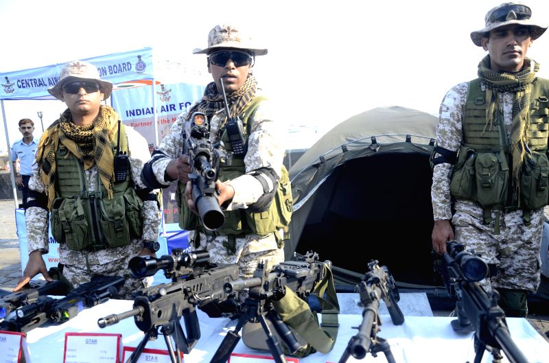 Soldiers during full dress rehearsals ahead of an Airshow scheduled to be organised on 11th March 2015 at the Gateway of India, in Mumbai, on March 10, 2015.