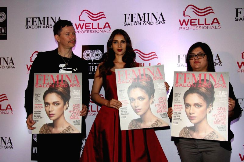 Stan Darren Newton, Creative Director, P&G Salon, Bollywood actor Aditi Rao Hydari and Tanya Chaitanya, Editor, Femina during the cover launch of Femina Salon and Spa magazine in Mumbai, .