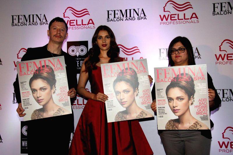 Stan Darren Newton, Creative Director, P&G Salon, Bollywood actor Aditi Rao Hydari and Tanya Chaitanya, Editor, Femina during the cover launch of Femina Salon and Spa magazine in Mumbai, .
