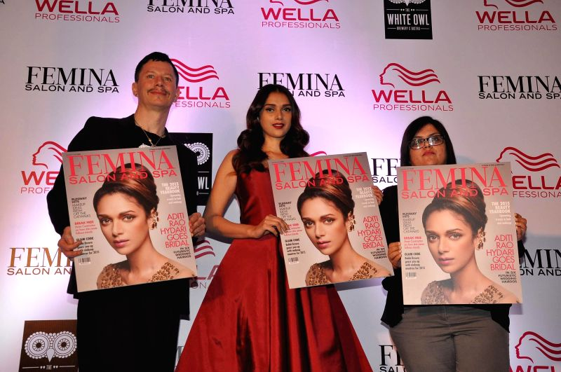 Stan Darren Newton, Creative Director, P&G Salon, Actor Aditi Rao Hydari and Tanya Chaitanya, Editor, Femina during the cover launch of Femina Salon and Spa magazine in Mumbai on Jan 21, .