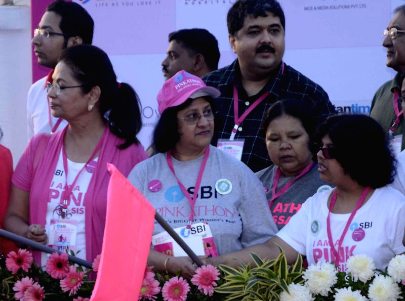 State Bank of India chairperson Arundhati Bhattacharya during a programme organised to flag off `Pinkathon` in Mumbai, on Dec 14, 2014.