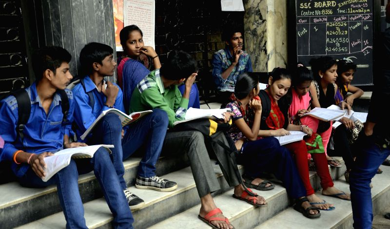 Students during last minute revision on the Day-1 of SSC board examination in Mumbai, on March 3, 2015.