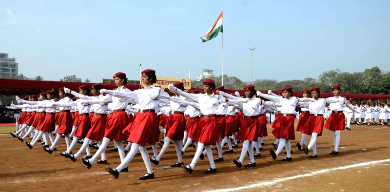 Students participate in Republic Day celebrations at Shivaji Park in Mumbai, on Jan 26, 2015.