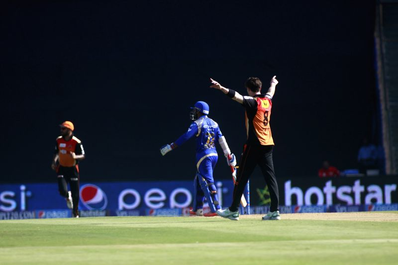Sunrisers Hyderabad player Dale Steyn celebrates fall of Parthiv Patel's wicket at the Wankhede Stadium, in Mumbai, on April 25, 2015. - Parthiv Patel