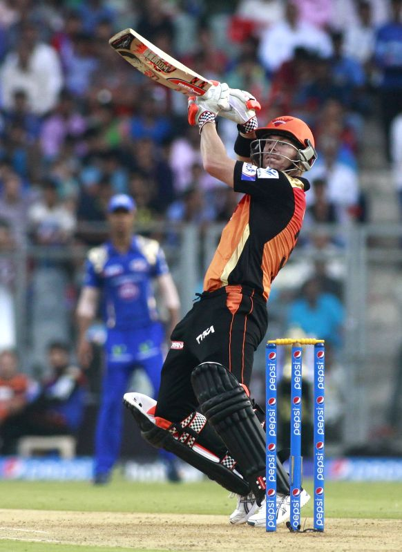 Sunrisers Hyderabad player David Warner in action during an IPL-2015 match between Mumbai Indians and Sunrisers Hyderabad at Wankhede Stadium, in Mumbai, on April 25, 2015.