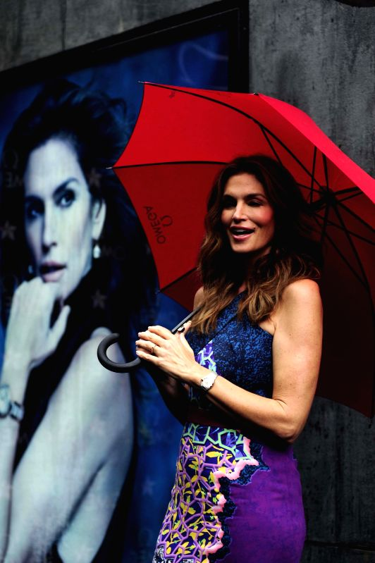 Supermodel Cindy Crawford during the launch of a product in Mumbai on June 18, 2015.
