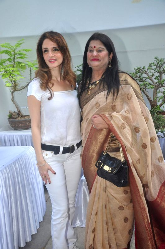 Suzaane Khan and Vice President of India Friendship Bonsai Society Urvashi Thacker during the Inauguration of Exotic Bonsai and Ikebana Exhibition in Mumbai on Feb 27, 2015. - Suzaane Khan