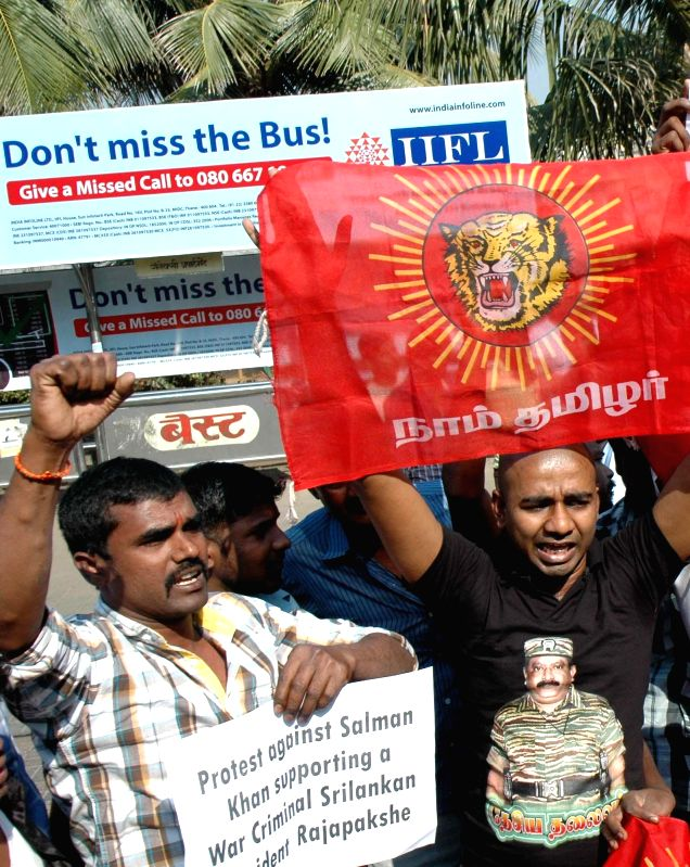 Tamil activists stage protest against Salman Khan in front of his residence for supporting Sri Lankan president Mahinda Rajapaksa in Mumbai, on Jan 4, 2015.