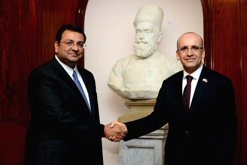 Tata group chairman Cyrus Mistry with the Finance Minister of Turkey Mehmet Simsek at the headquarters of Tata group in Mumbai, on Feb 23, 2015.