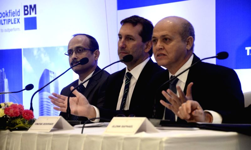 Tata Projects MD Vinayak Deshpande addresses during a programme organised to announce a tie up between Tata Projects and Brookfield Multiplex in Mumbai on April 23, 2015.