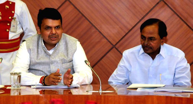 Telangana Chief Minister K Chandrasekhar Rao during a meeting with Maharashtra Chief Minister Devendra Fadnavis at Raj Bhavan in Mumbai, on Feb 17, 2015. - K Chandrasekhar Rao