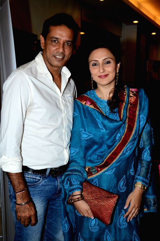 Television actor Anup Soni with his wife Juhi Babbar during the book launch of Susheela Pathak`s `Great Grandma`s Kitchen Secret` in Mumbai on  March 29, 2015. - Anup Soni