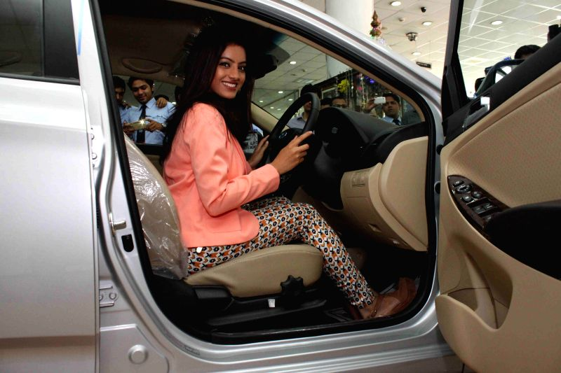 Television actor Deepika Singh during the launch of Hyundai Verna car in Mira Road, Thane dist, on Feb 23, 2015.