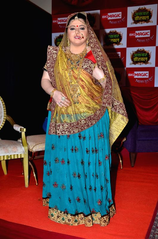Television actor Delnaaz Irani during the launch of Big Magic channel new show Chatur aur Chalak, Birbal aur Viraat, in Mumbai on Jan. 30, 2015. - Delnaaz Irani